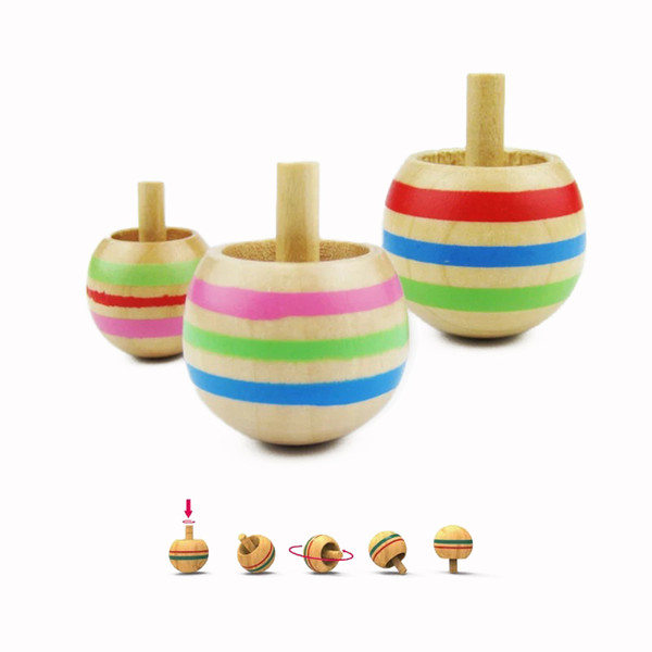 Mini Wooden Inverted Spinner Gyro Hand Spinning Tops Classic Fidget Toys Kids Children Christmas Gift Funny Peg Top Present