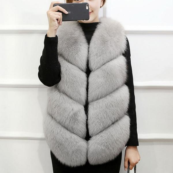 Hot Sale Winter Warm Fur Vests Coat Women Faux Fox Fur Vest Midum Long Coats Waistcoat Female Jacket Outerwear 2018 Discounted