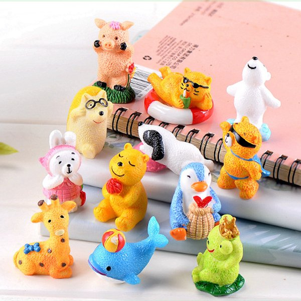 12pcs Resin Craft Fairy Garden Miniatures Bonsai Tools Cartoon Animal Toy Terrarium Figurines jardin Home Accessories jardin Micro Landscape