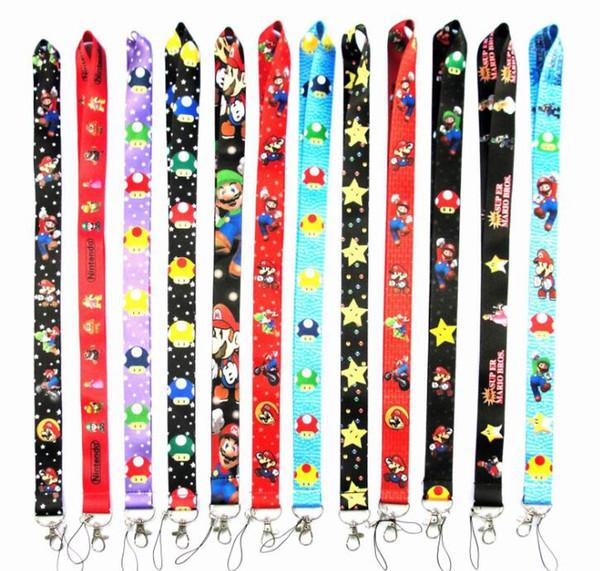 Schlussverkauf! 12 stücke Neue farbe Cartoon Super Mario Schlüsselanhänger Mobile Handy Lanyard Halsgurte Gefälligkeiten Weihnachten kinder party geschenk