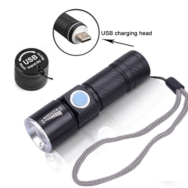 Hot 3 Mode Tactical Flash Light Torch Mini Zoom Rechargeable Powerful USB LED Flashlight AC Lanterna For Outdoor Travel