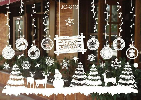 Christmas Snowman Removable Home Vinyl Window Wall Stickers Decal Decor Hot Sale Christmas Transparent Window Wallpaper Shop Large Christmas Ornaments