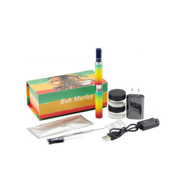 Nuevo Bob marley box kit seca herbal vaporizador vape pen cera seco atomizador de hierba apto para ego-t batería
