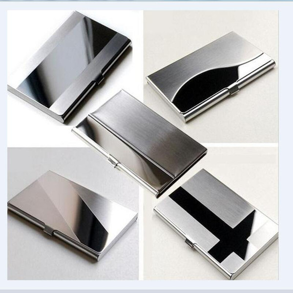Card Holders Waterproof Stainless Steel Silver Aluminium Metal Case Box Business Men ID Name  Holder Cover Cardcase