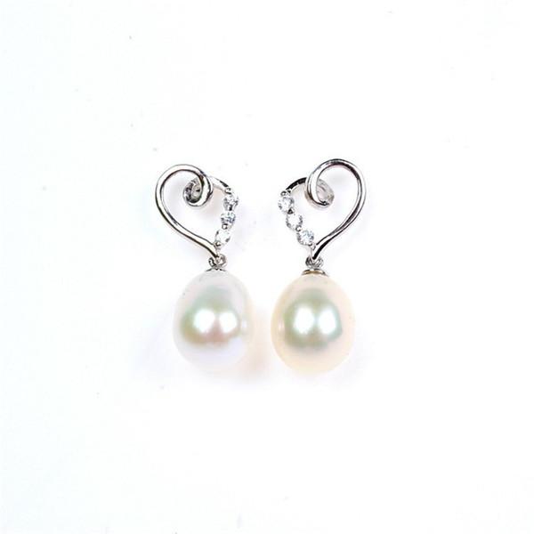 8mm Freshwater Pearls Drop Earrings For Women S925 Sterling Silver Noble Temperament Heart-Shaped Ear Studs Anting Wanita