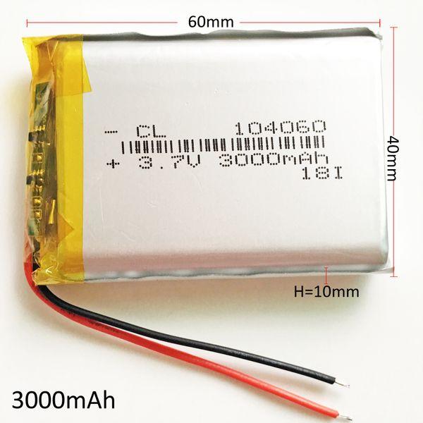 Modelo 104060 3.7 V 3000 mAh Lithium Polymer LiPo Bateria Recarregável Para PAD telefone móvel banco de potência do GPS Da Câmera E-livros Recodificador caixa de TV