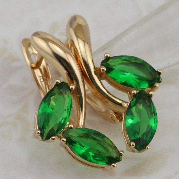Simple Elegant Nice Green CZ Gems Hoop Earrings Yellow Golden Plated Jewelry Gift For Women EB541B