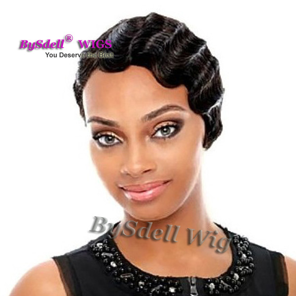 Fashion Short Black Color Hair Pixie Cut Party Wig Layered Cut Short Synthetic Finger Wave Curly Hair Capless Wigs Wigs Cheap Synthetic Wig Styling