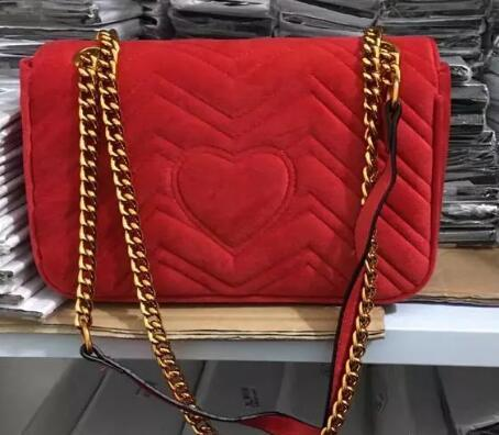 Free shipping 2018 New gift Fashion black chain makeup bag famous luxury party bag Marmont velvet shoulder bag Women designer bags HANDBAGS