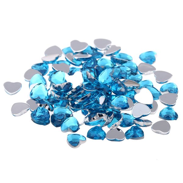 Craft Art DIY 14mm 1000pcs Normal colors Heart-Shaped Shiny Big Gems Flat Facets Acrylic Flatback Rhinestone Nail Stickers