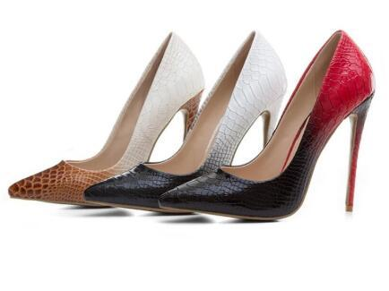 2018 New women high heels snake skin print leather pumps thin heel 12cm party shoes gradient color pumps mixed color dress shoes