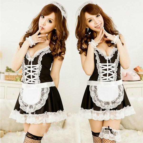 Maid uniformes costumes étudiants de lingerie sexy portent Noël tentation sexy noir blanc côté amour MOXIAN nightclub costume de jeu QN40A10142L