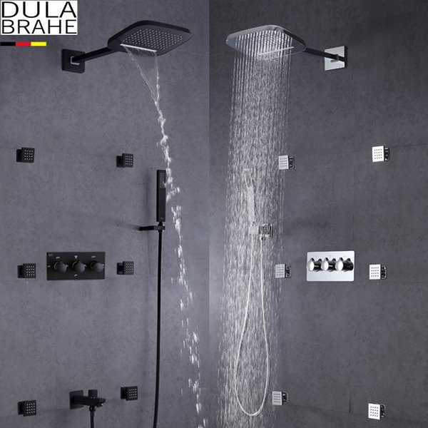 top popular DULABRAHE Waterfall Bathroom Shower Mixer Faucet Set Wall Mounted Rain Bath Shower Head Tap Black   Silver Hot And Cold Shower Valve 2021