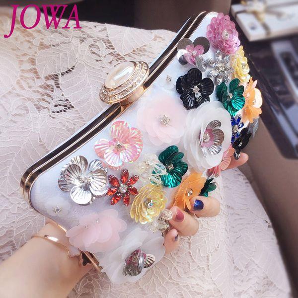 2017 New Design Evening Bags Women's Fashion Handbag Lady Sequined Flower Bride Clutch Wedding Party Diamond Package Night Purse