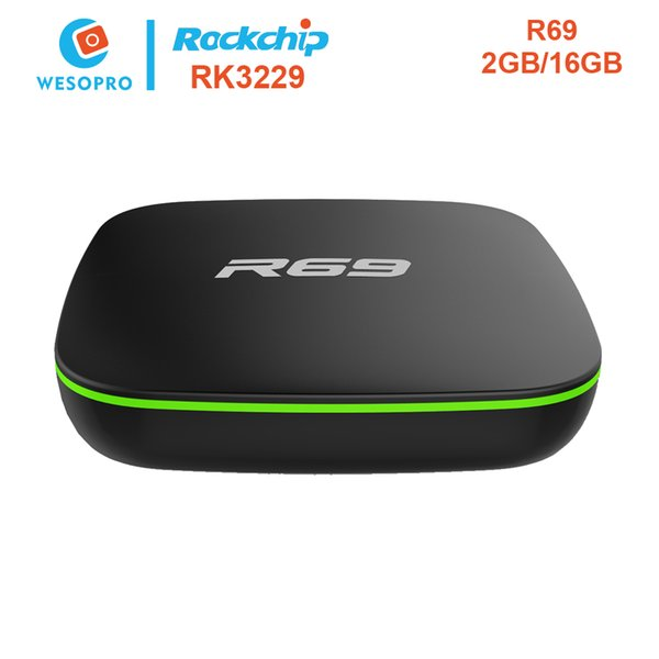 NEW WESOPRO R69 Android 6 0 Smart Tv Box With Rockchip RK3229 2GB RAM 16GB  ROM Air Mouse MP3 Play Store Youtube Netflix KDPlayer 2 Channel Receiver