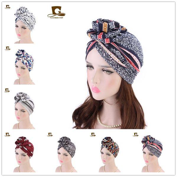 2019 New fashion Elegante 3D grande Fiore Turbante Donne Cancro Chemo Berretti Skull Caps Musulmano Turbante Partito Hijab Headwear Accessori per capelli