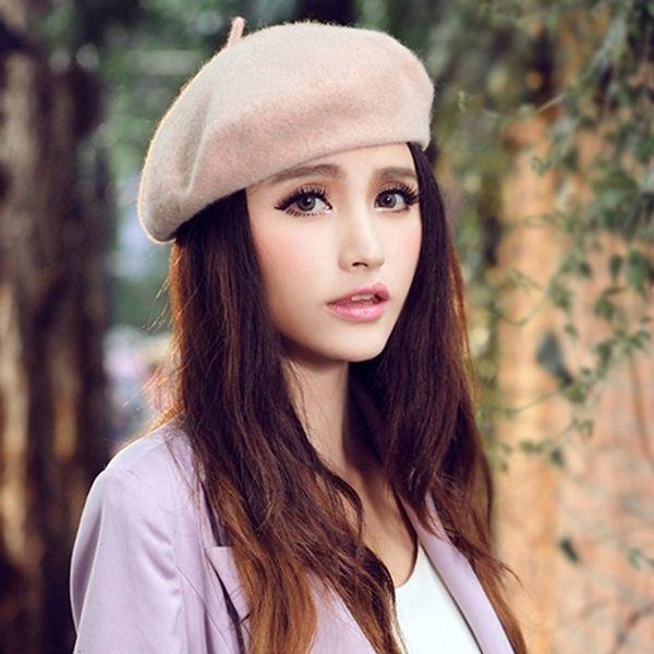 d2293e9188f Women Classic Winter Wool Felt Warm French Beret Hat Beanie Pure Color  Sweet Mini Cap