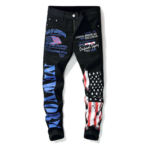 New Fashion Mens American USA Flag Printed Jeans Straight Slim Fit Trousers Plus Size Elastic Printing Jeans Pants For Men 100% Cotton