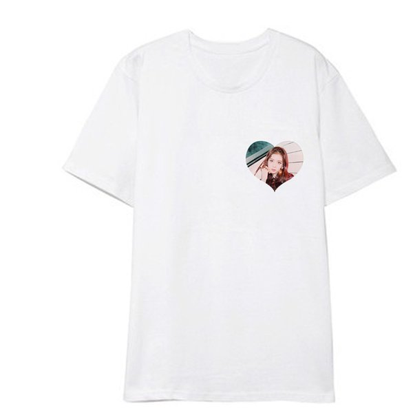 Kpop BlackPink con la pareja camiseta de manga corta Negro rosa Camiseta temperamento de diosa del temperamento coreano Camiseta blanca de verano
