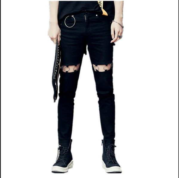 Spring and summer with the same section of the metal iron ring decorated men's hole jeans nightclub hairstylist tide men nine feet pants