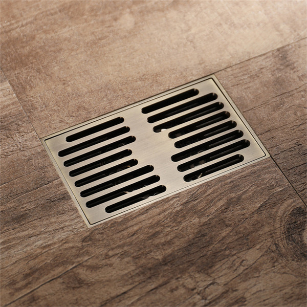 best selling Brushed Antique Brass Bathroom Linear Shower Floor Drain Wire Strainer Bath Cover Waste Drainer 140*90mm Ground Drainage
