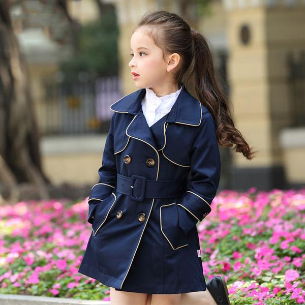 Kızlar için kış Ceket Uzun Tarzı Sonbahar Güz Dış Giyim Rüzgarlık Gençler Çocuklar için ceket Yaş 4 5 6 7 8 9 10 11 12 T Yaş