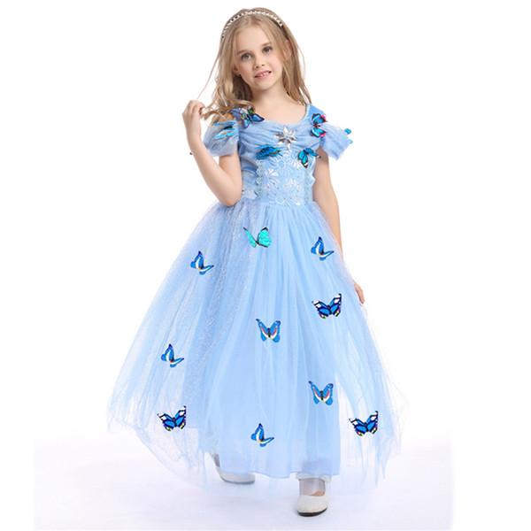 Snowflake Diamond Cinderella Dress Halloween Girls Princess Dresses Blue Butterfly TuTu Dress Girls Party Dresses Kids Dresses LA734