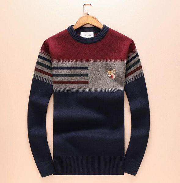 7a022f392b8f7 2018new hombres suéter de lana de punto con rayas negras Tiger bordado  sudadera Top hombre marca