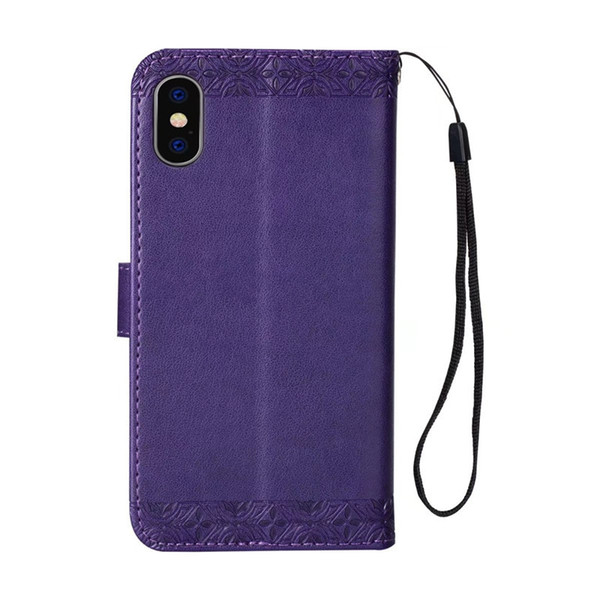Delicate luxury for samsung galaxy luxury briefcase Embossed sunflower PU kickstand case for Goophone X wallet case with hanging strap