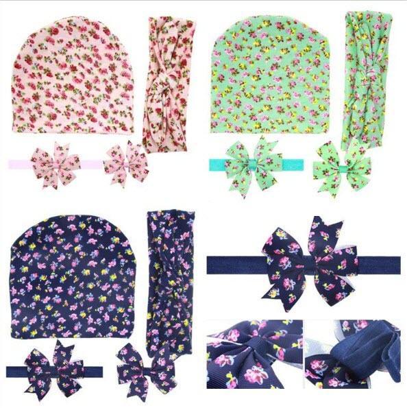 4 adet Bebek Şapka + Bunny Bantlar + Elastik Kafa + Saç Klipler Set Kızlar Pamuk Çiçek Yay Hairbands Çocuklar Çiçek Saç Aksesuarları KHA565