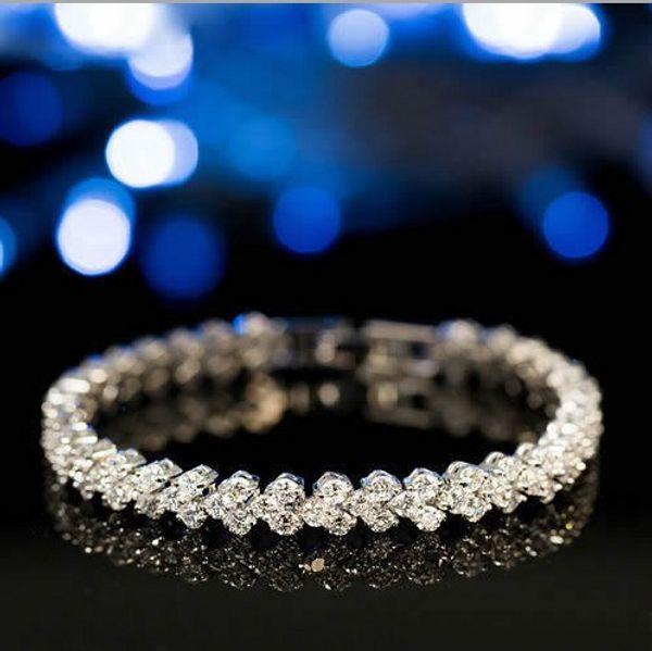 Wholesale European Charm Beads Fits diamond Charm bracelets Style Bracelets Jewelry lady Roman bracelet AAA zircon crystal bracelet