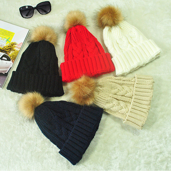 Moda Feminina De Malha Chapéu De Pelúcia Bola Gorros Bonitos Outono Inverno Manter Quente Senhora Casual Crochet Cap XRQ88