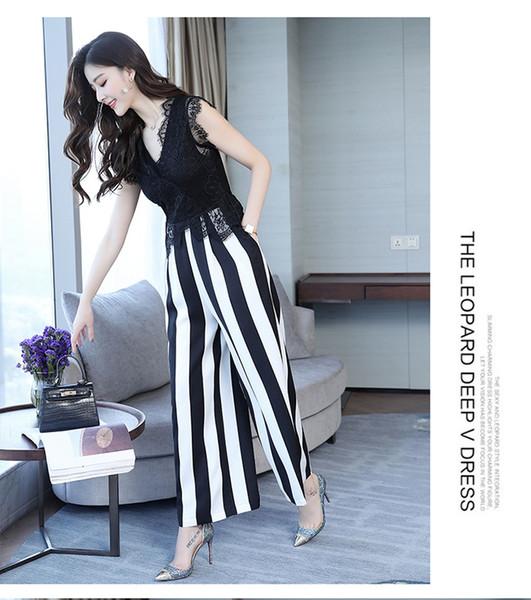 Female Sleeveless Slim Women Chiffon Jumpsuits Workplace suit Lace fashion black and white stripe Jumpsuits