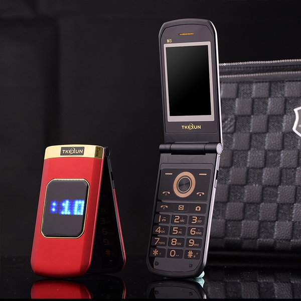 Luxury Flip 2.4 inch Double touch Screen Metal Body Dual SIM Card MP3 FM Gold cellphone Big keyboard letter loudly speaker mobile cell phone