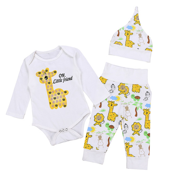 2018 Newborn Baby Cartoon Sets Infant Toddlers Animal Printing Romper+Long Pants+Hat 3pcs Baby suits Kids Boutiques Clothing