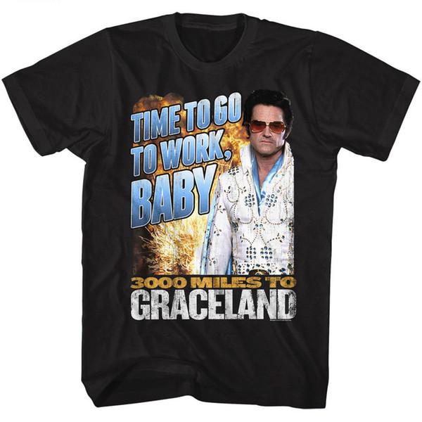 3000 Milhas Para Graceland T-Shirt Ir Para Trabalhar Tee Preto Camiseta Homens Moda Homem Branco de Manga Curta Tamanho Grande Família T-shirts