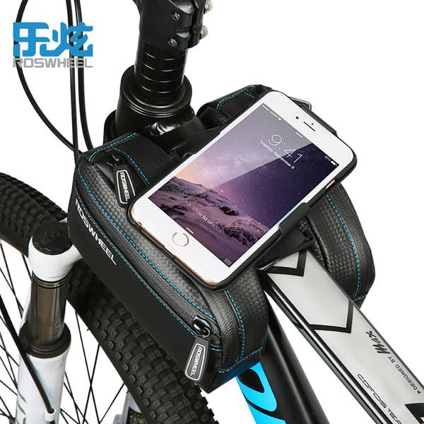 ROSWHEEL TANK Borse da 2 tasche con doppio tubo anteriore per bici da bicicletta 2.4L con due 4.7-6.0 pollici iPhone7 6 6s plus Borsa da ciclismo Samsun Huawei