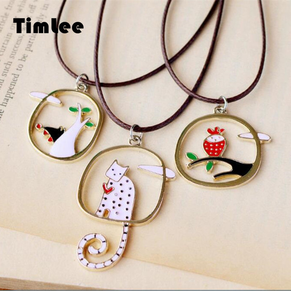 whole saleTimlee N042 Fresh And Lovely Cartoon Cute Cat Wolf Owl Alloy Pendant Necklaces,Jewelry Wholesale