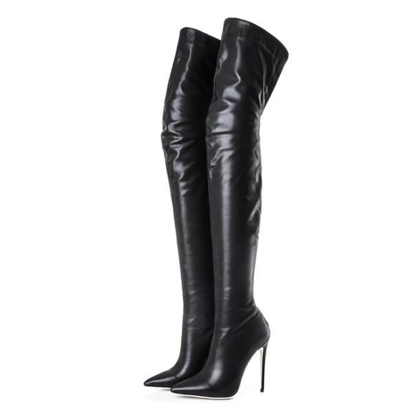 2018 nouvelles bottes chaudes de mode bout pointu spike talons hauts hiver femmes bottes en cuir souple zip Knight Thigh-High Boots chaussures femmes grande taille