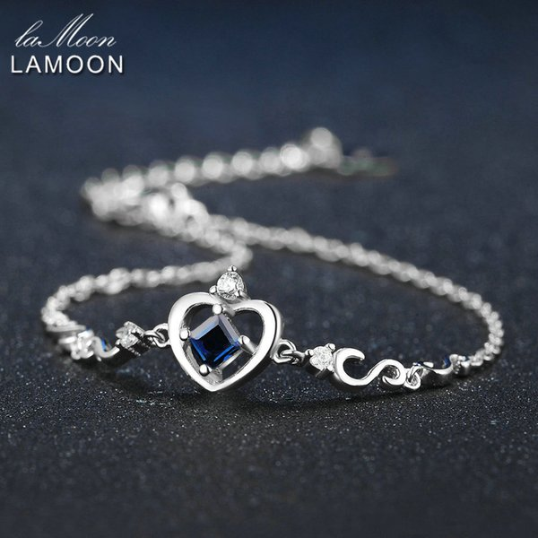 LAMOON Crow Princess Cut 0.2ct 100% Real Blue Sapphire 925 Sterling Silver Jewelry S925 Charm Bracelet LMHI029Y1882701