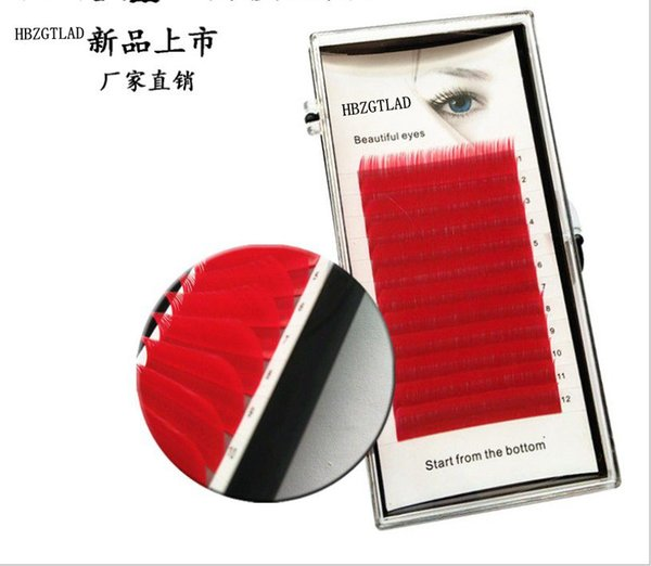 New C/D curl 0.07 0.1mm 8/13mm false lashes red color eyelash individual colored lashes Faux volume eyelash extensions