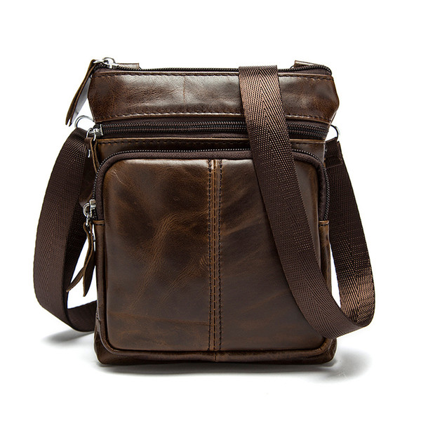 2018 Direct Selling Satchels New Korean Version Of Leather Men's Bag Vertical Head Layer Single-shoulder Zipper Oblique Satchel