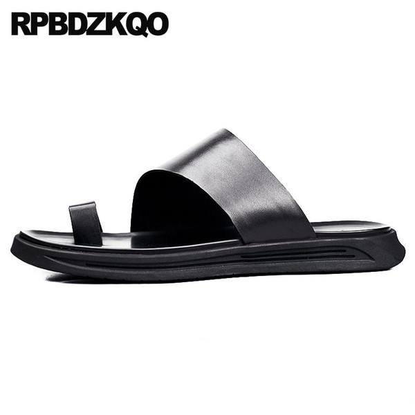 Sandales Toe Loop De Luxe Pantoufles Native Platform En Cuir Véritable Designer Chaussures Hommes De Haute Qualité Noir Doux Sport Été Diapositives