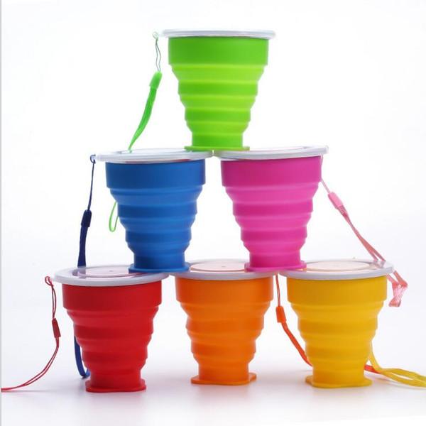 200ml 4.5 * 9cm * 8cm Coupes Voyage Portable Bouteille en silicone rétractable pliant eau avec Couvercles télescopique réductibles 6 couleurs Drinkware