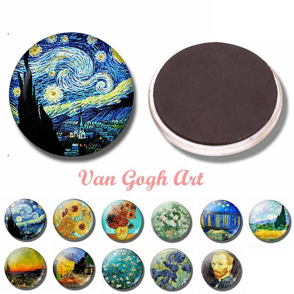 Van Gogh Kunst 30 MM Kühlschrankmagnet Die Sternennacht Glas Dome Iris Sonnenblumen Rose Mandel Baum Magnetische Kühlschrank Aufkleber