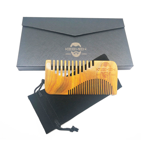 50pcs/lot Your LOGO Customized New S-Shaped Coars & Fine Tooth Green Sandalwood Beard Combs Hair Combs with Gift Box & Bag for Gentleman