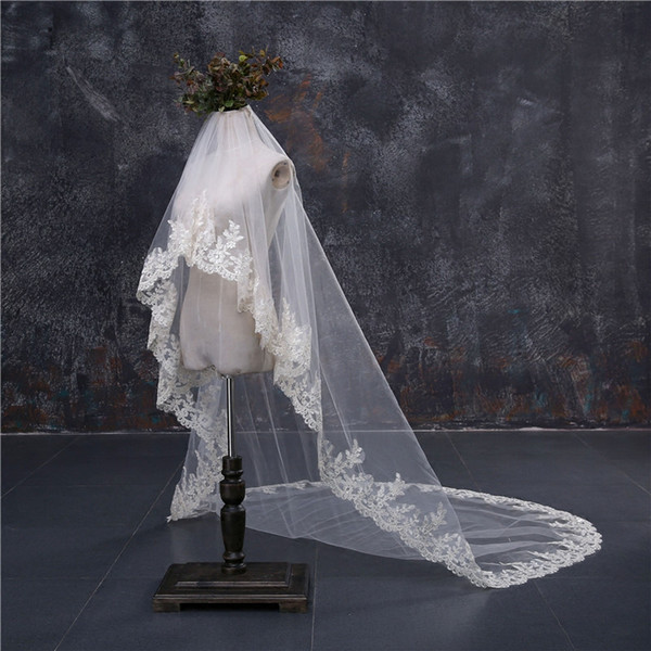 2018 Cheap In Stock 2 m*1.5 m Bridal Veils Lace Bridal Wedding Accessories Long Appliques Edged Cathedral Formal Wedding Veils