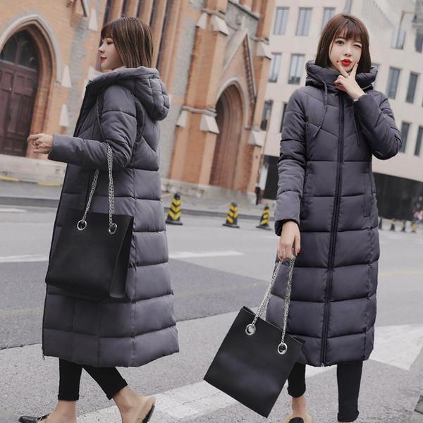 2018 mujer abrigo de invierno abajo Parka mujer chaqueta de invierno nuevo largo impermeable chaqueta acolchada S18101505