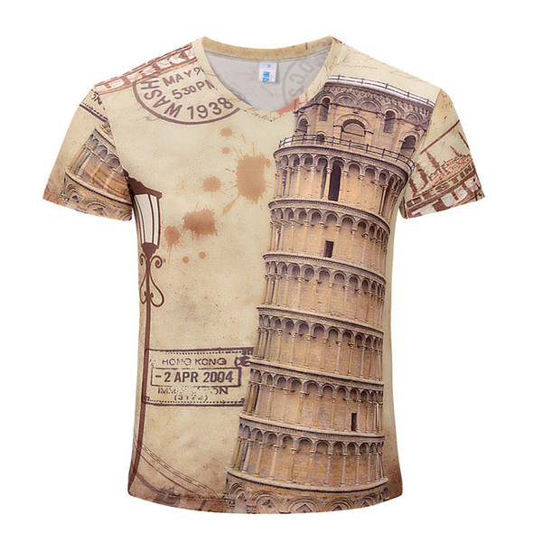 Wholesale Free Shipping Vintage Famous Building 3d Digital Printed Men Short Sleeve Casual Cool Tops Tees T Shirt