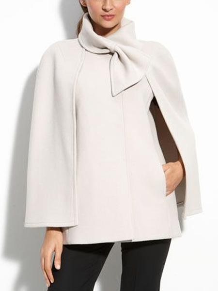 Mulheres Casaco de Cabo Branco Mistura De Lã Bowknot Preto Escritório Casaco Outerwear Casuais Queda de Inverno Arco Europeu Elegante Capa Casacos